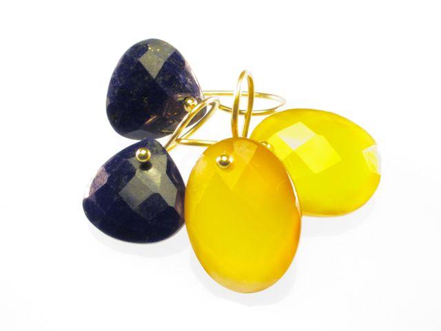 Sas Design pear drops earrings lapis lazuli and yellow onyx