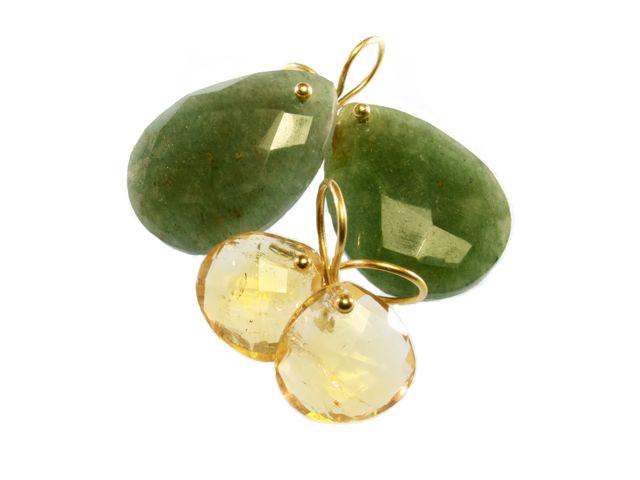 Sas Design pear drops jade and citrine