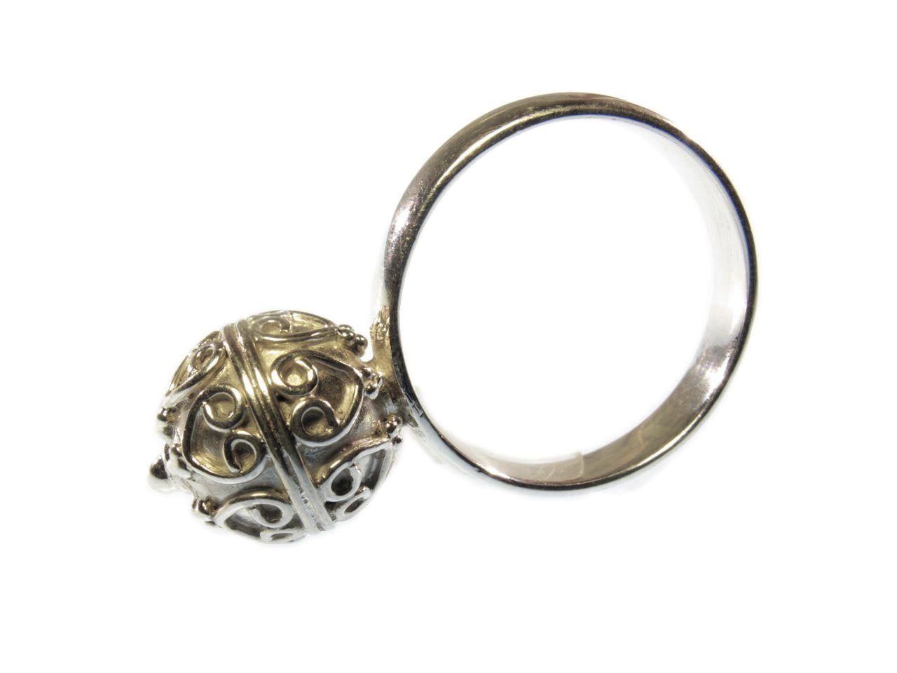 R1144-Z Etruskische zilver ball ring