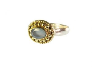 Ring With Small Blue Chalcedony – R1015