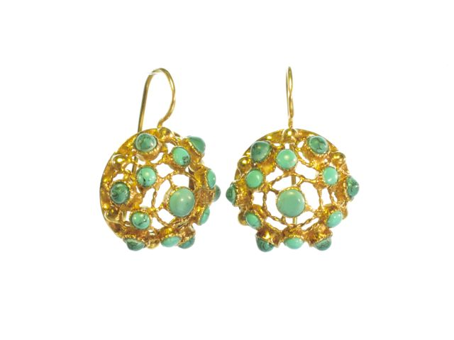 Victorian Filigree Earrings With Turquoise – E91104