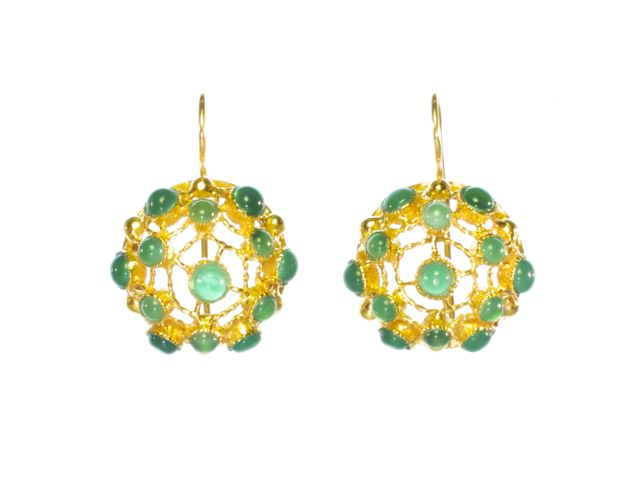 Victorian Filigree Earrings With Green Onyx – E91104