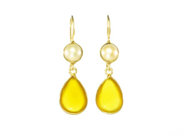 Classic Earring Yellow Onyx Pear Drop And Pearl – E6917