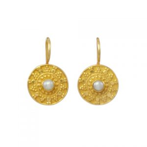 Small Etruscan Pearl Coin Earring – E8326