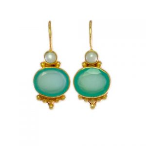 Antique Replica Earring Oval Chalcedony With Pearl – E3012