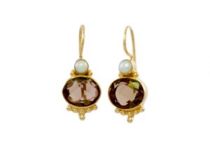 Classic Earring Oval Smokey Topaz With Pearl – E3012