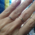 18k gold, diamond, silver, Small stackrings - aanschuifringetjes
