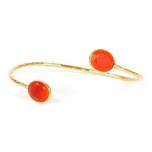 Bendable Bracelet With Facet Cut Carnelian