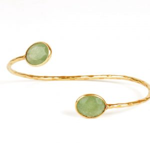 Bendable Bracelet With Facet Cut Jade