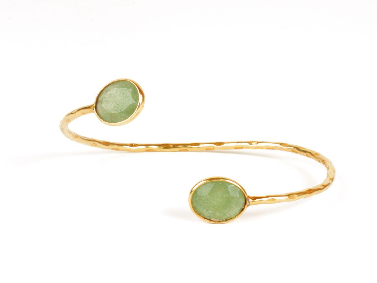 Bendable Bracelet With Facet Cut Jade