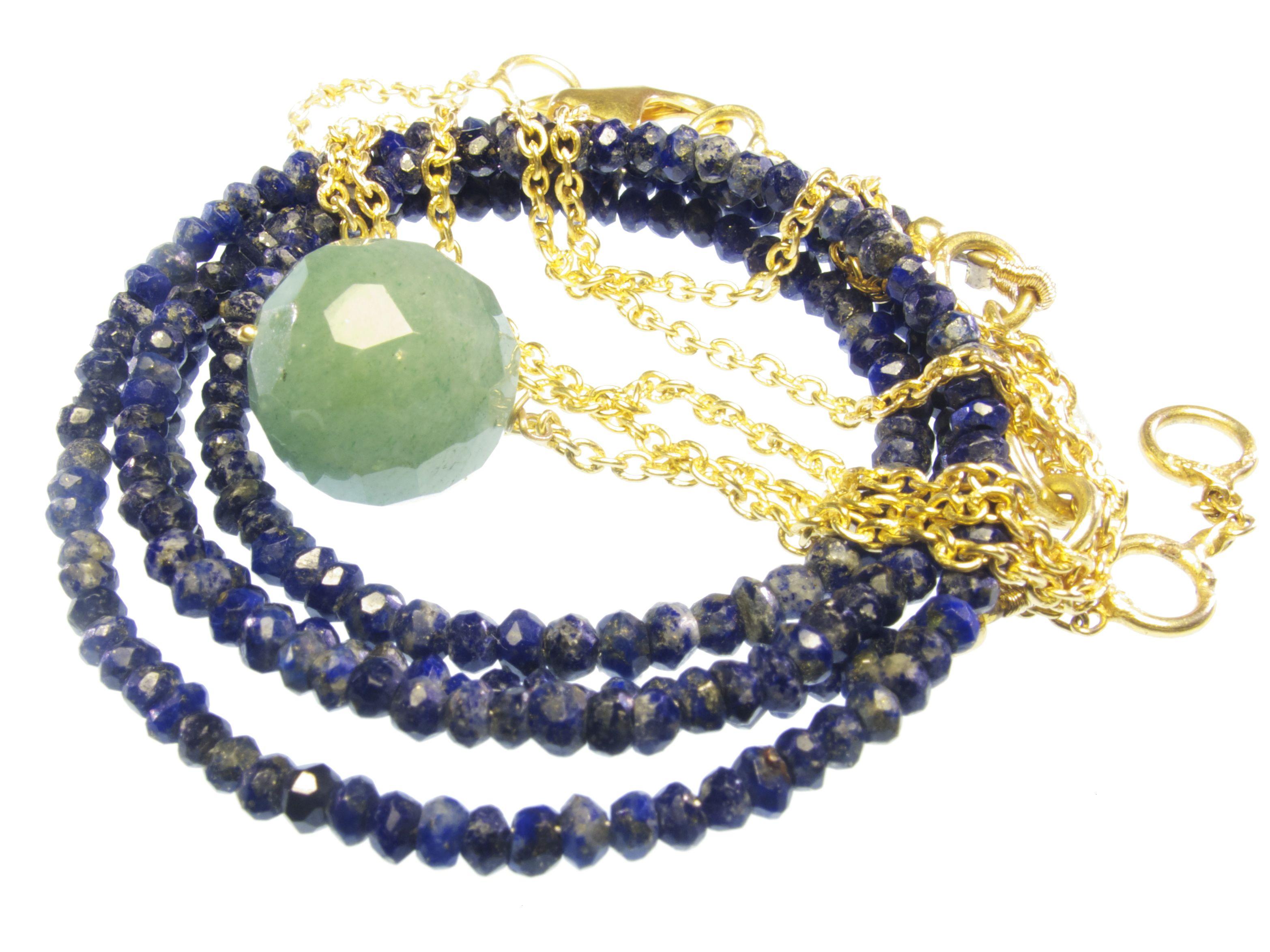 Blauwe Ketting Van Lapis Lazuli En Goud Vergulde Ketting Met Jade Hanger