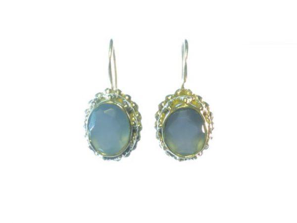 Ovale blauwe chalcedoon Etruskische zilver oorbellen E3b-Z