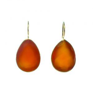 Earring Orange Carnelian Teardrops In Gold Plated Setting