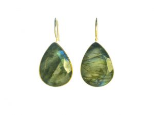 Earring Labradorite Drops In Gold Plated Setting – E7703