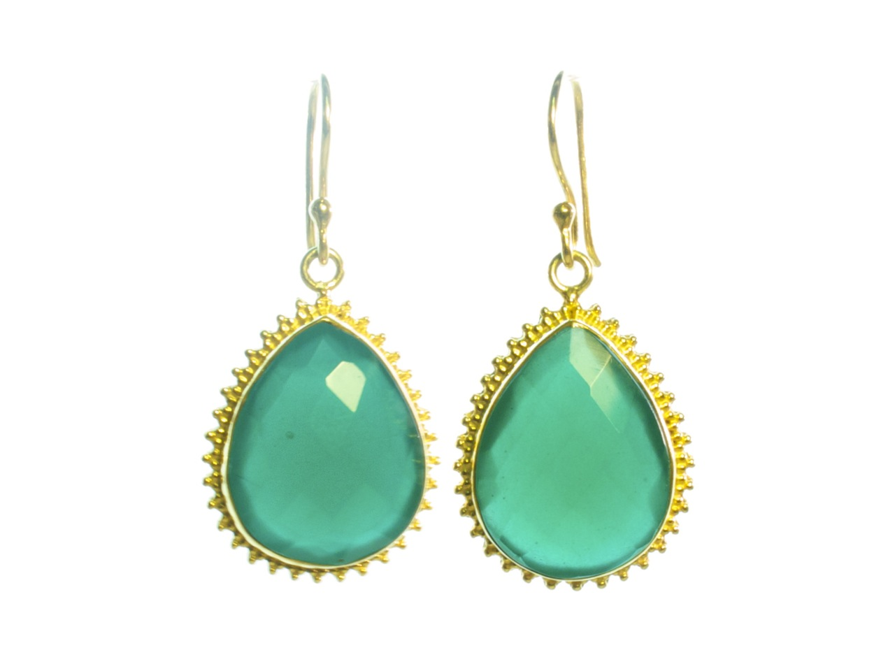 Earring Green Onyx In Toothed Setting – E1315