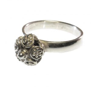 Ring With Etruscan Silver Ball – R1145