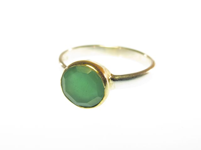 Ring With Round Facet Green Onyx – R1271