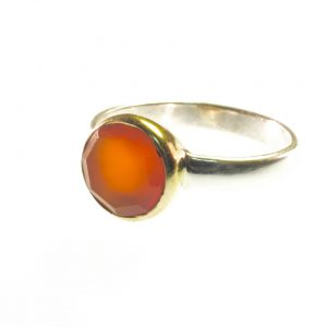 Ring With Round Facet Cut Carnelian – R1271