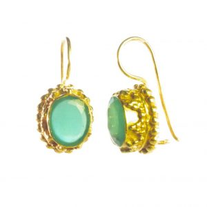 Oval Gold Earring Green Onyx Etruscan Antique Replica- E3b