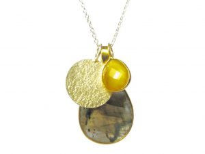 Pendant Gold And Silver Combi Set With Fine Silver Chain Necklace