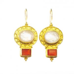Classic Chic Etruscan Earring Rose Quartz And Carnelian – E9506