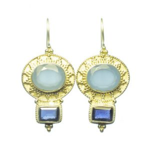 Classic Chic Earring Blue Chalcedony And Iolite