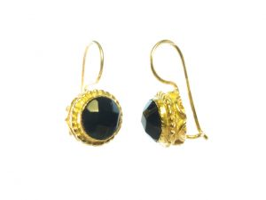 Earrings With Round Facet Cut Onyx – E1254