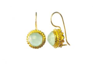 Earrings With Round Facet Cut Aqua Chalcedony – E1254