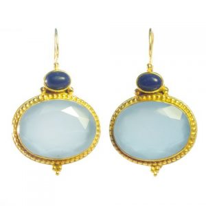Earring Blue Chalcedony And Lapis Lazuli – E9516