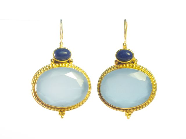 Earring Blue Chalcedony And Lapis Lazuli – E9516