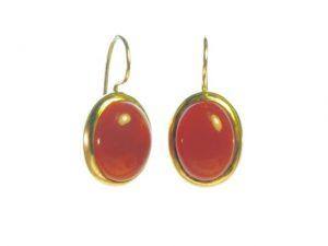 Earring Big Oval Cabochon Cut Orange Red Carnelian – E91120
