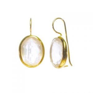 Earring Big Oval Facet Cut Rose Quartz – E91120