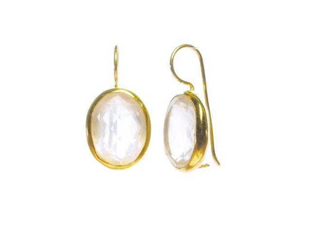 Earring Big Oval Facet Cut Rose Quartz – E91120