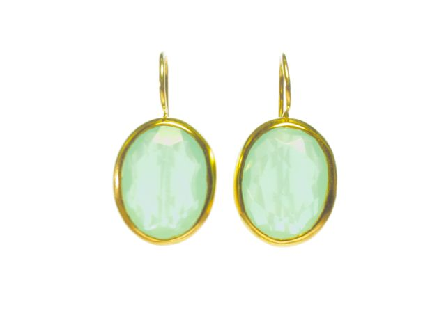 Earring Big Oval Facet Cut Aqua Chalcedony – E91120