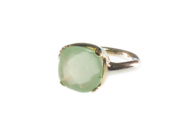 Ring With Square Chalcedony In Gold Setting On Silver Tube