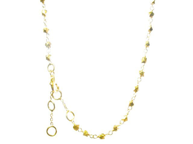 Short Necklace Facet Gold Plated Silver Beads