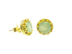 Gold Plated Stud Earrings In Crown Setting With Chalcedony