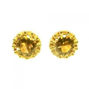 Gold Plated Stud Earrings In Crown Setting With Citrine