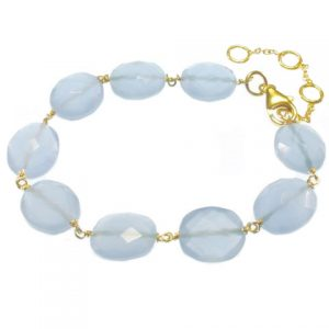 Chalcedony Bracelet With Facet Cut Oval Blue Chalcedony Beads