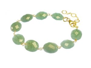 Jade Bracelet With Facet Cut Oval Jadebeads