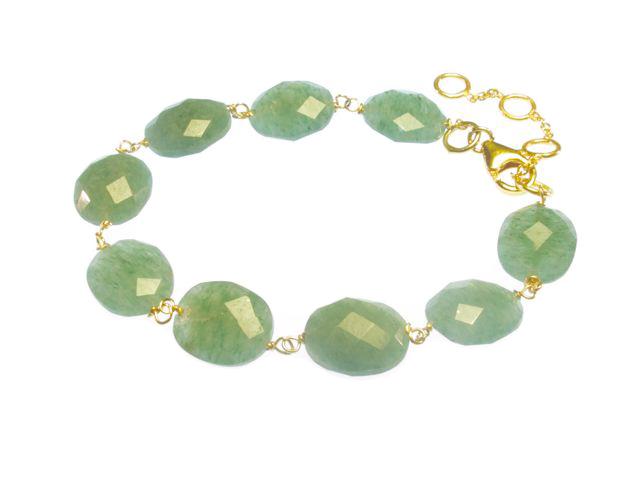 Jade Bracelet With Facet Cut Oval Jadebeads