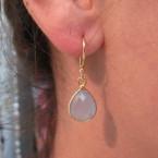 E1199-V oorbellen met blauwe chalcedoon los aan de haak