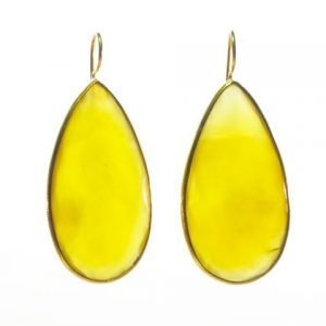 Long Yellow Onyx Drop Earrings With Setting – E1197