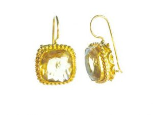 Earrings With Square Facet Citrine
