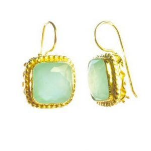 Earrings With Square Facet Aqua Chalcedony – E8307