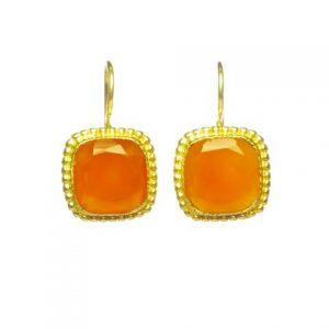 E8307-V Vierkante Etruskische Oorbellen Met Oranje Carneool