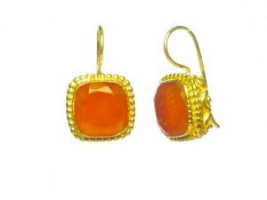 Earrings With Square Facet Carnelian