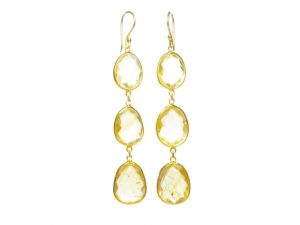 Earring Three Drops Citrine In Fine Setting