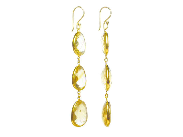 E1362-V drie citrien lange oorbellen