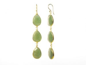 Earring Three Drops Jade In Fine Setting